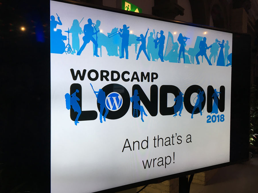 Image of Elliott Porter's WordCamp London 2018 information screen with brand identity