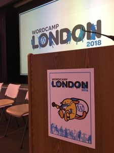 Image of Elliott Porter's WordCamp London 2018 projector screen with graphics