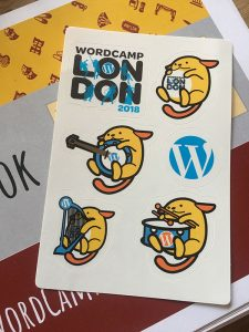 Image of Elliott Porter's WordCamp London 2018 Wapuu sticker sheet