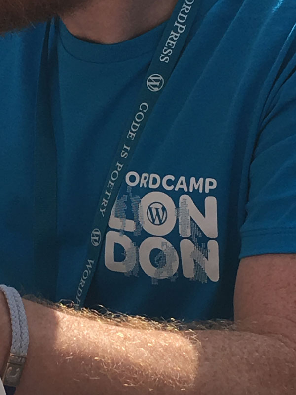 Image of Elliott Porter's WordCamp London 2018 t-shirt
