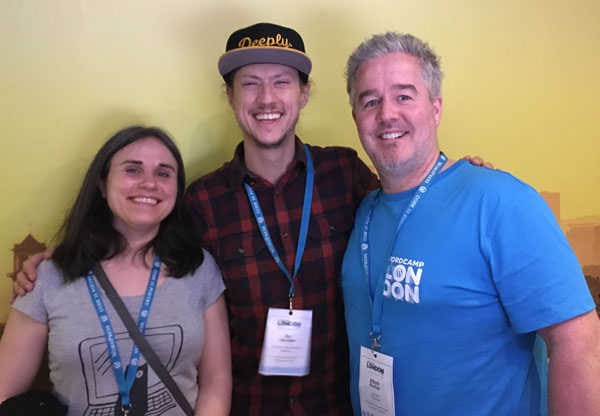 Image of Elliott Porter's with Zac Gordon and Belinda Mustoe at WordCamp London 2018